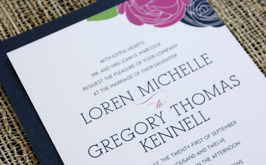 loren greg navy and pink wedding invitations