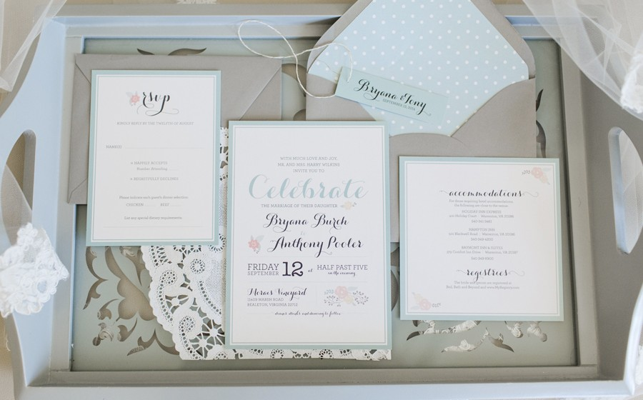 Dusty Shale & Lace Wedding Invitations: Bryana & Tony - Jess ...